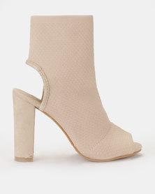 Peeptoe open heel sock block heel boot Blush