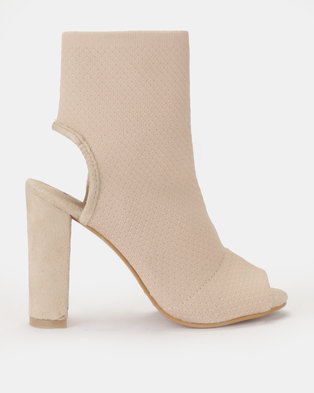 b5f133396e32 Peeptoe open heel sock block heel boot Blush