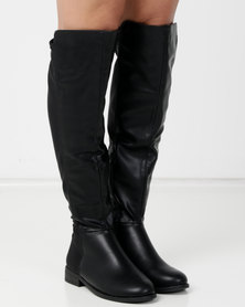 Plain multi fabric flat long boot Black