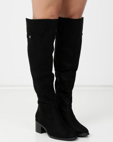 Low heel long boot with tab detail Black