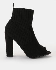 Peeptoe multi-fabric sock boot on block heel Black