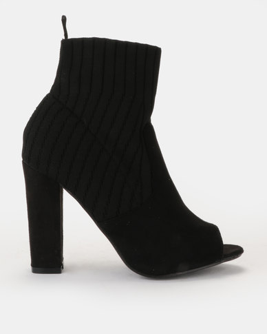 Peeptoe multi-fabric sock boot on block heel Black