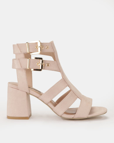 Cage Block Heel with double buckles Blush