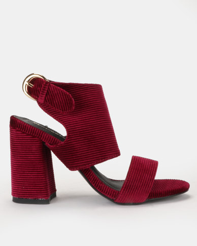 Corduroy cage heel with  vamp strap Burgundy