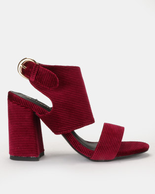 4f587c87a5b4 Corduroy cage heel with vamp strap Burgundy