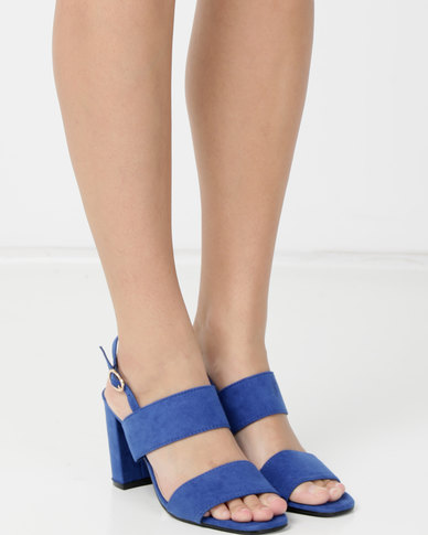 Double thick strap with slingback block heel sandal Cobalt