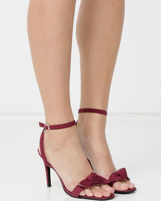 7745dbc62a2 Banded mule heel sandal with bow Burgundy