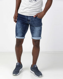 Swagga 5 Pocket Denim Bermuda Shorts Marble Ink