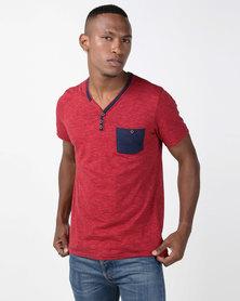 Paul Jones Y-Neck Pocket T-Shirt Red