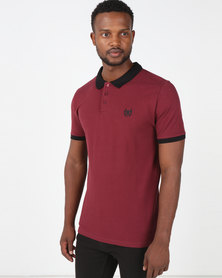 Beaver Canoe Paul Jones Textured Pique Golfer with Embroidery Detail Maroon