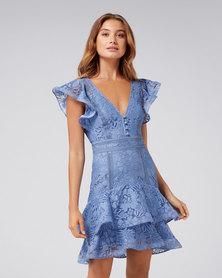 Mae Lace Skater Dress Blue