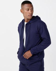 Utopia Basic Fleece Zip Through Hoodie Navy