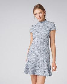 Sara Boucle Flippy Dress Blue Boucle
