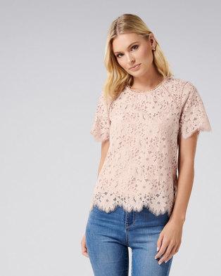 9dcafb394ac Nellia Lace Scallop Ball Trim Top Blush