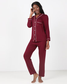 Poppy Divine Classic V-neck PJ Set Ruby & Ivory