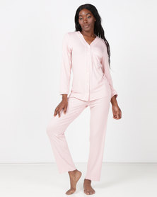 Poppy Divine Classic V-neck PJ Set Blush & Ivory