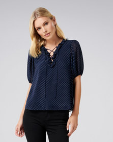 Forever New Joelle Lace Up Front Blouse Navy Spot