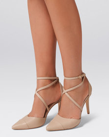 Emily Pointed Cross Strap Courts Nude PU