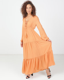 Legit Tiered Long Sleeve Maxi Dress Orange