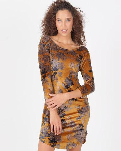 Legit Velour Floral 3/4 Sleeve Tube Dress Mustard