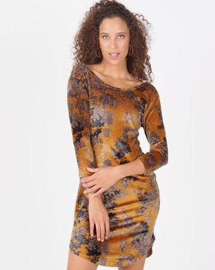cfeef6a38db807 Legit Velour Floral 3 4 Sleeve Tube Dress Mustard