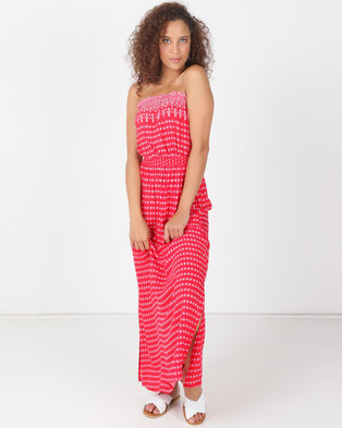 1414a4df49f Legit Geo Border Boobtube Maxi Dress Red White