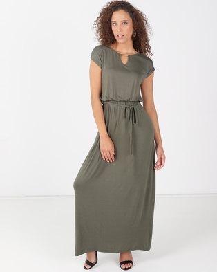 6db3a6d630283 Legit Gold Trim Waisted Maxi Dress Fatigue