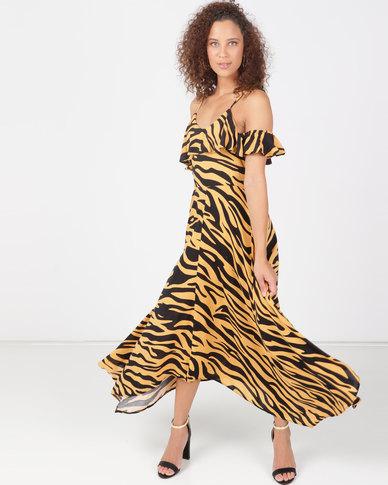 Legit Zebra Print Hanky Hem Dress Black/Beige