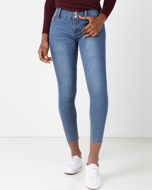 Legit 3BTN Waistband Skinny Jeans Dark Wash Blue