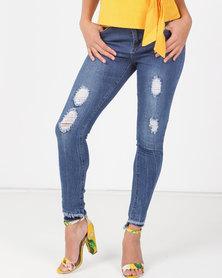 Legit Fray Hem Ankle Grazer Skinny Jeans Med Wash Blue