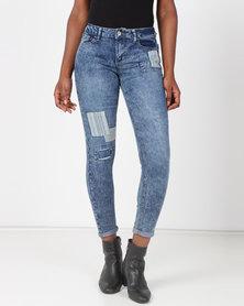 Legit Patch Skinny Jeans Blue