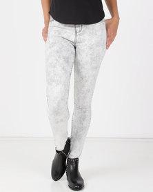 Legit Fray Hem Skinny Jeans Marble Grey