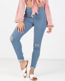 Legit Slash Knee Tube Skinny Jeans Blue