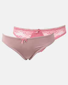 Legit Lace Brazilian 2 Pack Panty Rose/Mocha