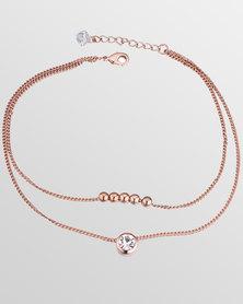 Btime Rose Gold Dainty Bracelet With Crystal Detail