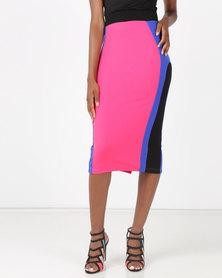 Brett Robson Alanna Colourblock Skirt Cerise/Cobalt