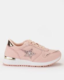 AWOL Girls Glitter Star Sneaker Pink