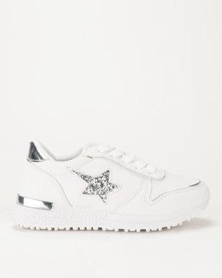 1b2cf30bfcf4 AWOL Girls Glitter Star Sneaker White