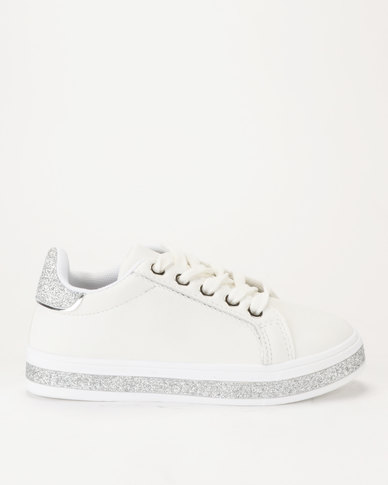 d8d720a56c31 AWOL Girls White/Silver Glitter Sneaker | Zando