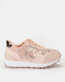 AWOL Girls Camo Sneakers Pink