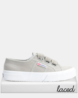 116f466f2536 Superga Canvas Big Lace Sage Sneaker Grey