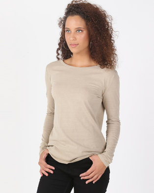 5bba4ca5d442c3 Silent Theory Kara Long Sleeve Top Tan