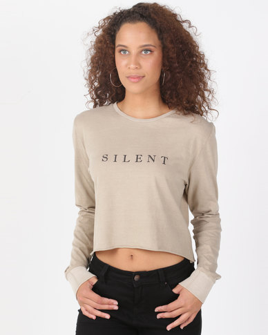 Silent Theory Editorial Long Sleeve Top Tan