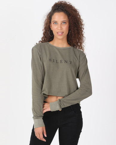 Silent Theory Editorial Long Sleeve Top Khaki