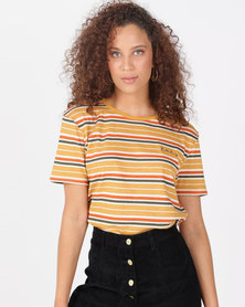 Billabong Radiant Stripe Crop Tee Honey Gold