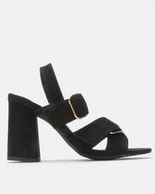 Madison Reagan Block Heel Sandal Black