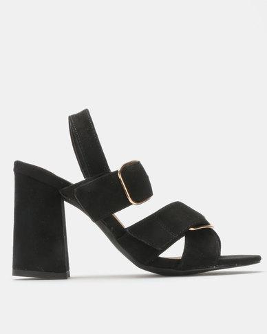 Madison Reagan Block Heel Sandal Black