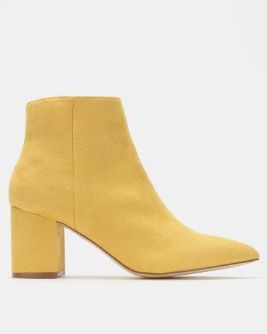 Madison Debbie Block Heel Ankle Boots Mustard