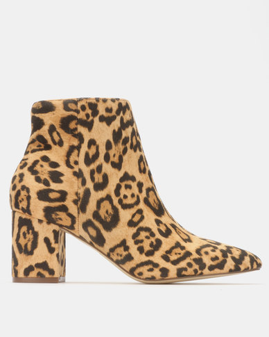 Madison Debbie Block Heel Ankle Boots Leopard