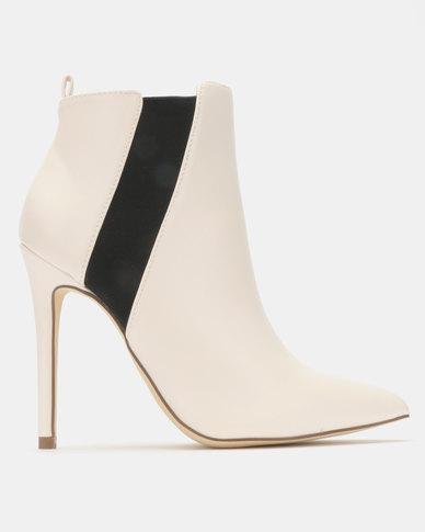 Madison Meg Stiletto Ankle Boots White